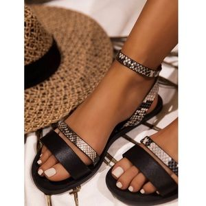 Shoes - Black Snake Print Ankle Strap Flat Sandal